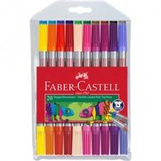Carioci 20 culori 2 capete Faber Castell
