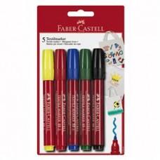 Marker pentru textile 5 culori Faber Castell